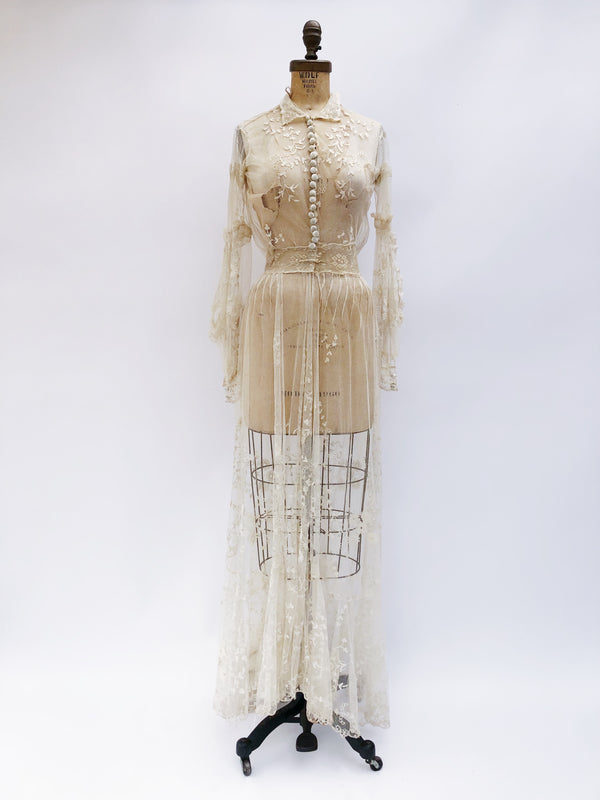 Antique Needle Lace Embroidered Gown - XS