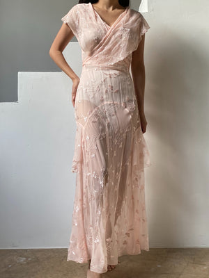 1930s Light Peach Silk Embroidered Gown - XS/S