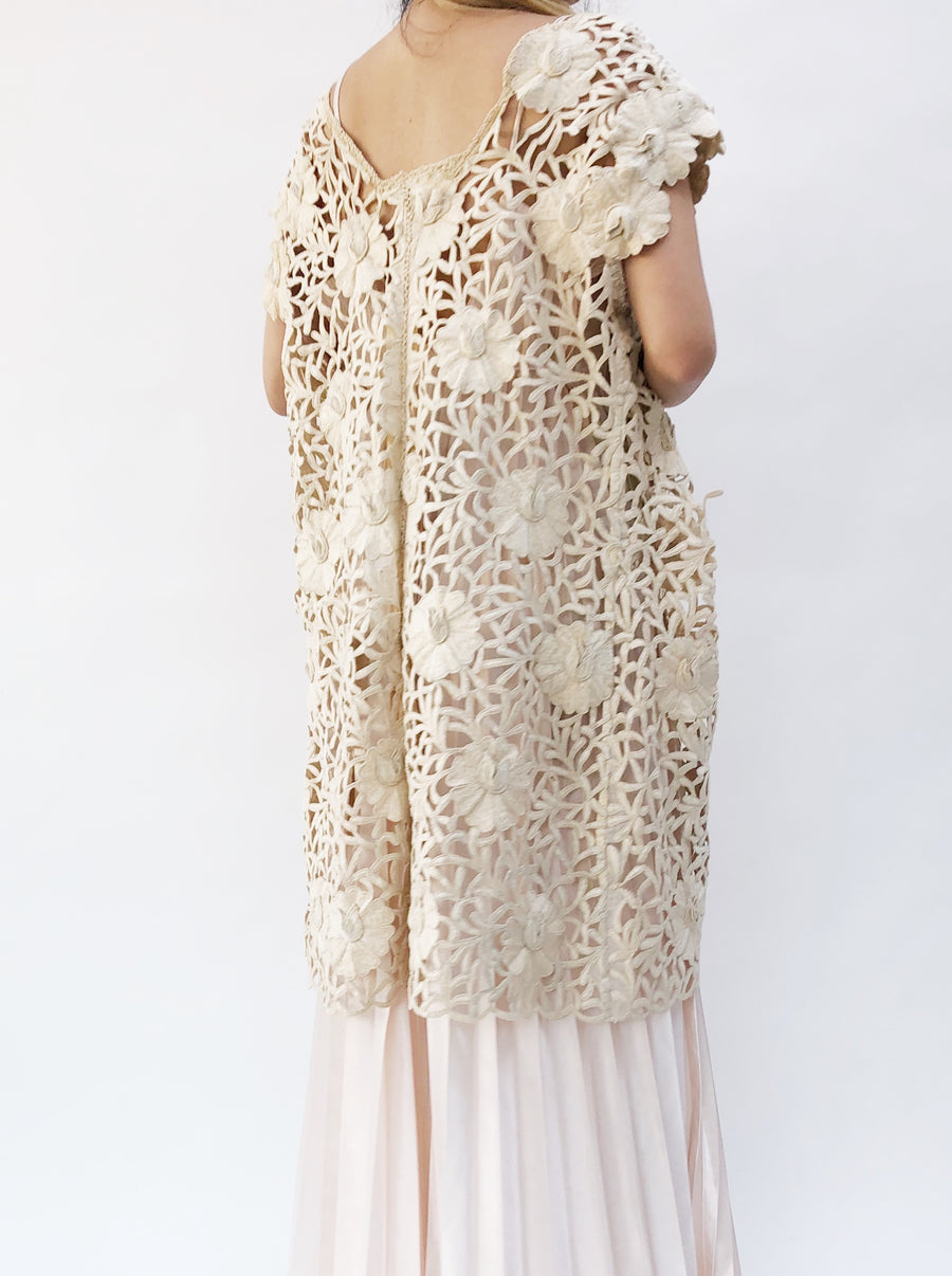Vintage Embroidered Cutout Jacket/Duster - OSFM