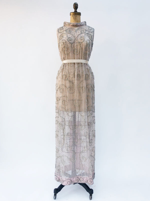 1960s Silk Organza Beaded Dress - M/L