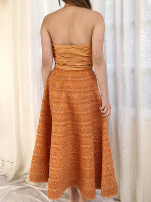1950s Adele Simpson Saffron Silk and Raffia Dress - XS