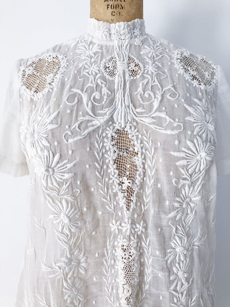 Antique Embroidered Top with Short Sleeves - S