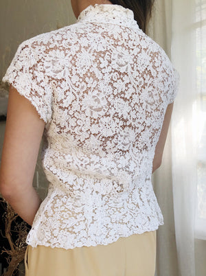 1940s Corded Lace Top - S