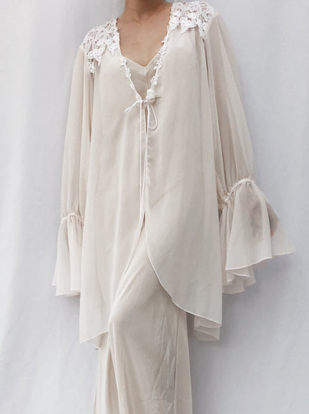 1980s Large Sleeves Chiffon Robe - One Size