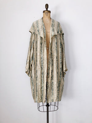 1980s Olive and Beige Silk Hooded Duster Robe  - One Size