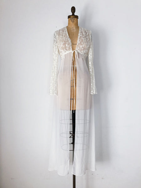 Vintage Chiffon and Lace Dressing Gown - XS/S