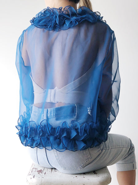 1960s Sheer Ruffle Top/Light Jacket - S/M