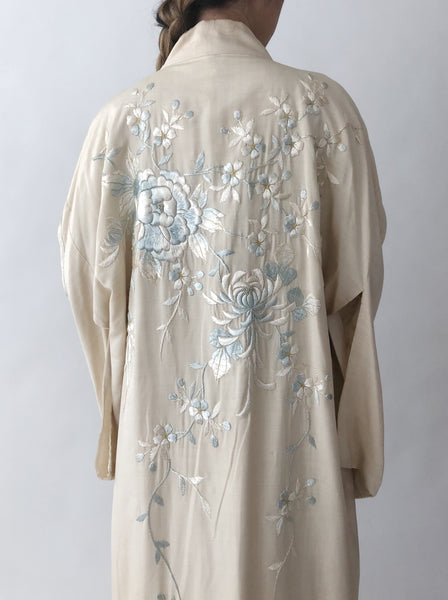 Antique Ivory Embroidered Kimono - One Size