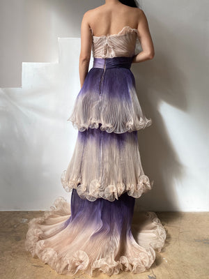 NWT Marchesa Pleated Silk Organza Gown - M