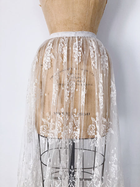 1950s Sheer Silk Lace Skirt - S