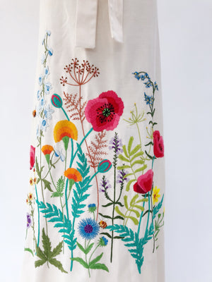 VTG Embroidered Linen Wrap Skirt - S/M
