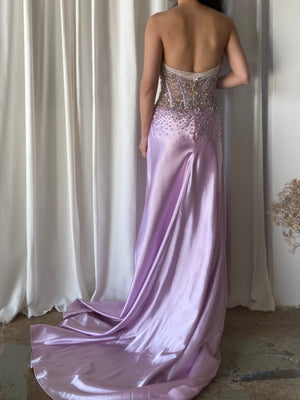 1980s Satin Lilac Bustier Dress - S/M