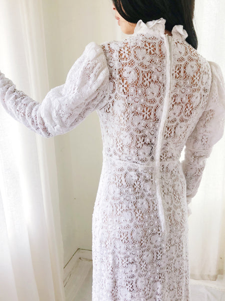 1960s Crochet Lace Gown - S