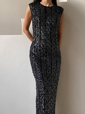 1960s Black Knit Beaded Dress - L/XL