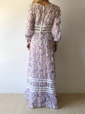 1970s Lavender Embroidered Dress - XS/S