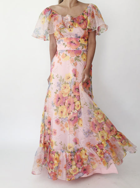 1970s Superbloom Floral Print Dress - S/M