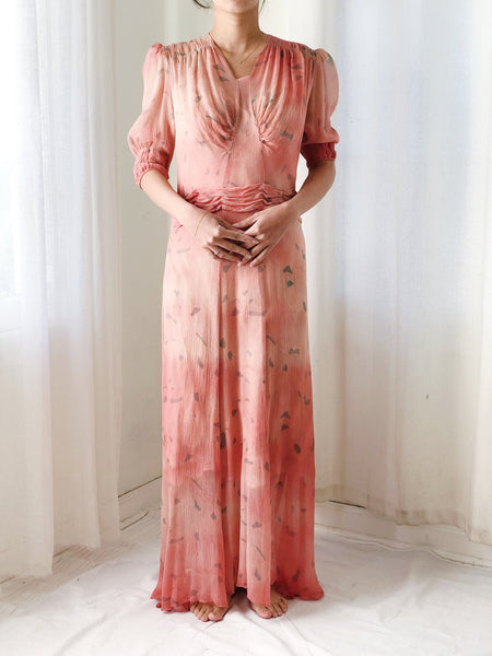 1930s Crinkle Silk Chiffon Dress - S