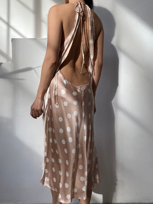 Vintage Nude Dots Silk Slip Dress - M