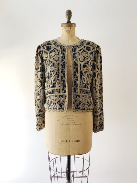 1980s Gold and Black Sequined Embroidered Jacket - M