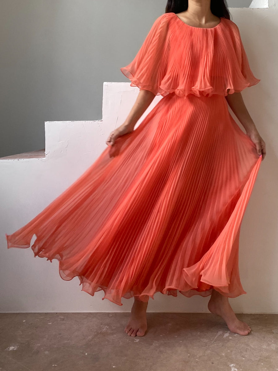 1960s Coral Orange Pleated Chiffon Dress - S/M