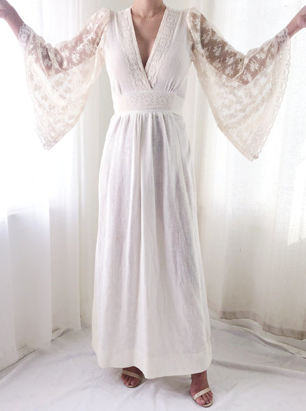 1970s Angel Sleeves Gauze Dress - XS/S