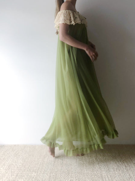 1950s/60s Green Tricot Chiffon Layered Gown  - S
