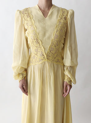 1940s Yellow Poet Sleeve Gown - XS/S