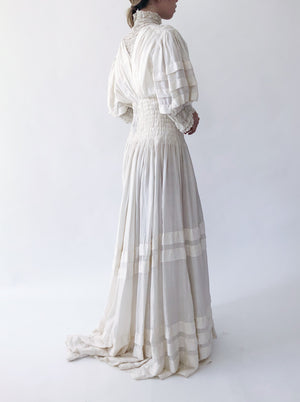 Antique Silk Gown Embroidered Gown - XS
