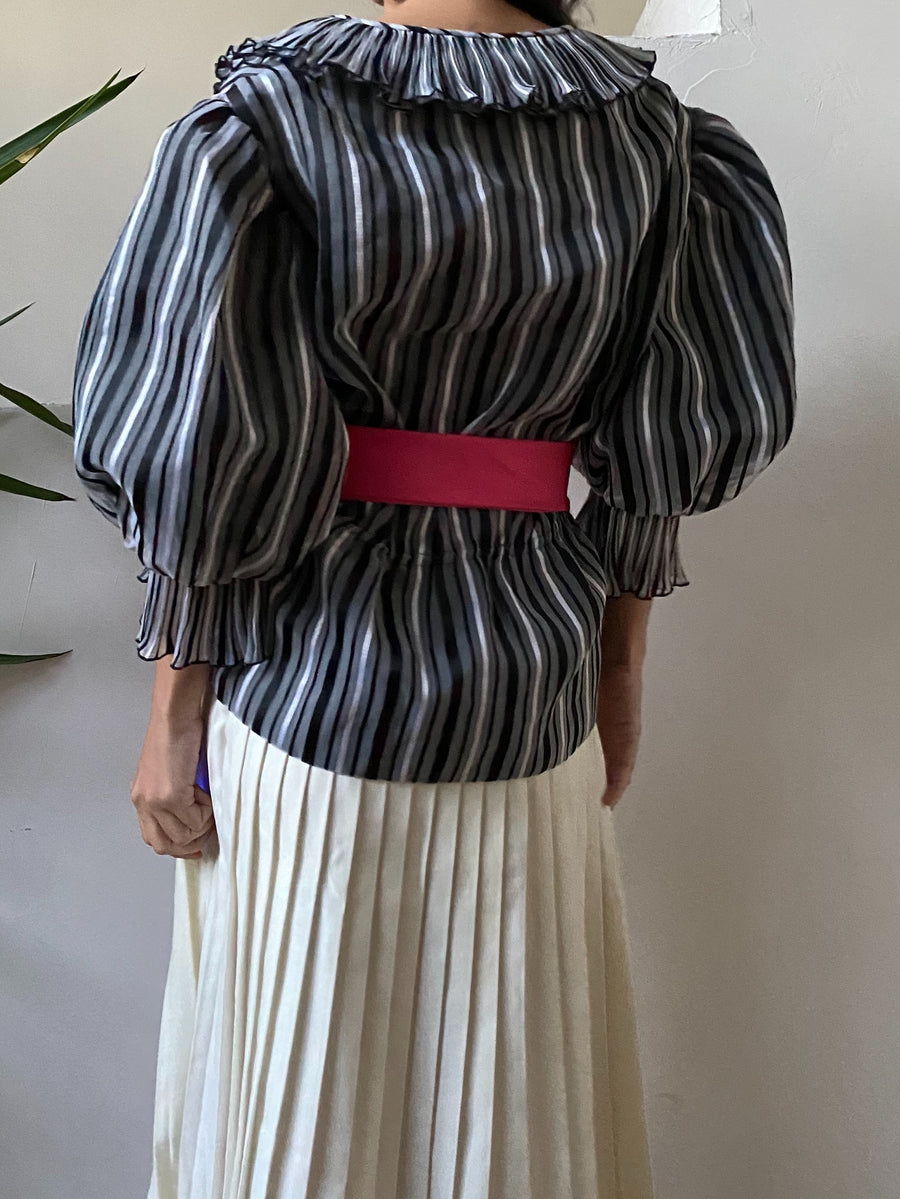 1980s Puff Sleeves Striped Top - S/M
