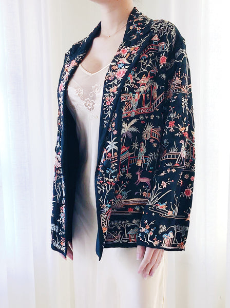 1920s Embroidered Silk Short Jacket- S/M