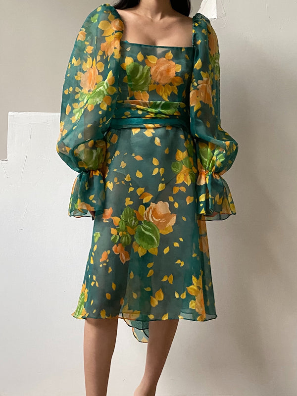 Vintage Chiffon Poet Sleeves Floral Dress - S/M