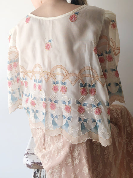 1960s Silk Embroidered Top - L