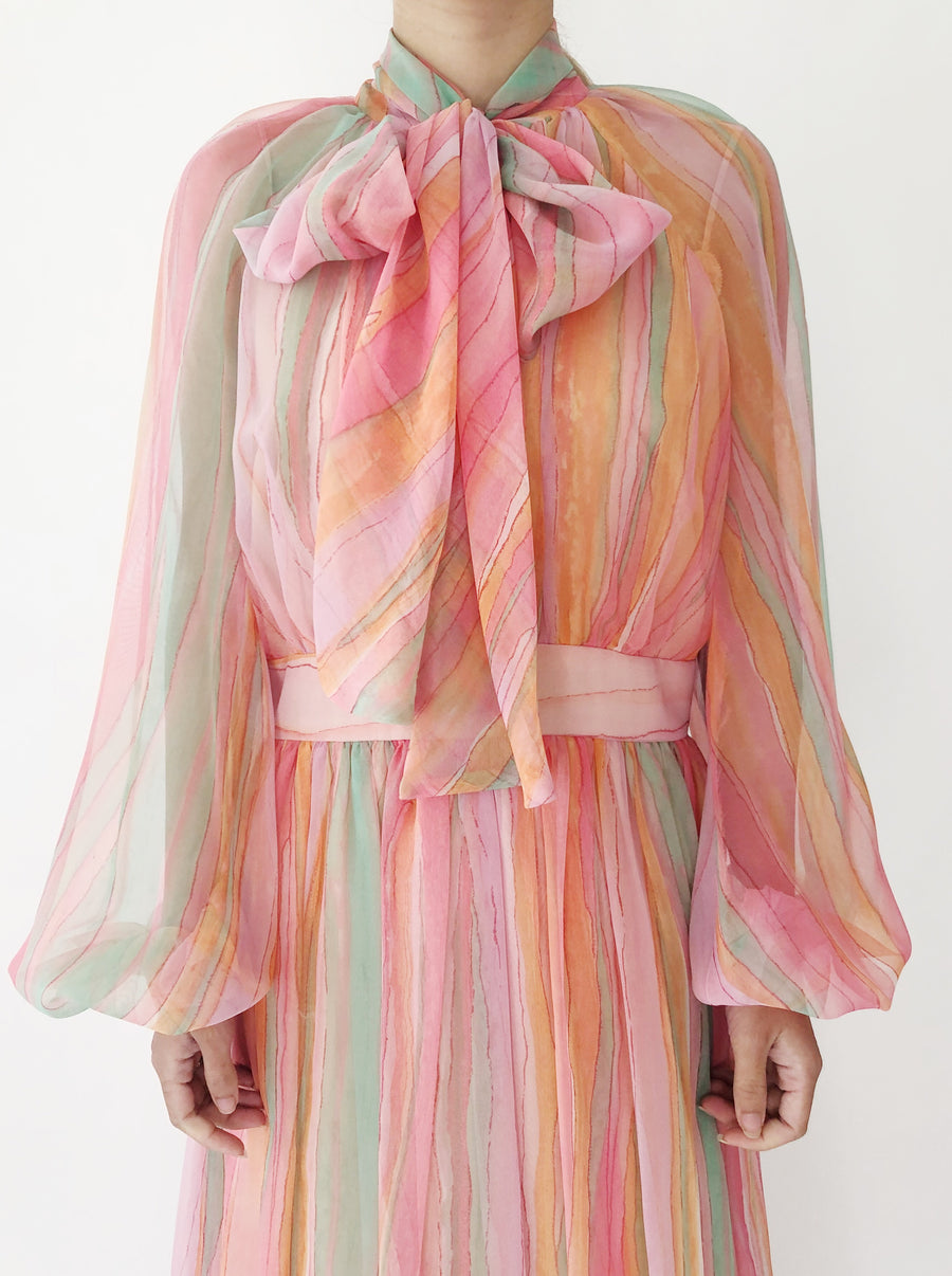 1970s/1980s Rainbow Chiffon Poet Sleeves Dress - S/M