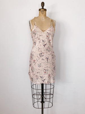 1980s Light Pink Paris Scenes Silk Slip Dress - S