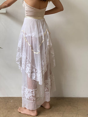 Antique Lace Tulle Skirt - S/M