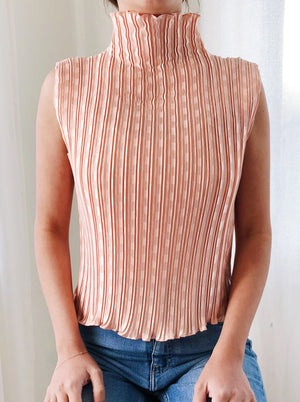 Vintage Salmon Pleated Top - S/M