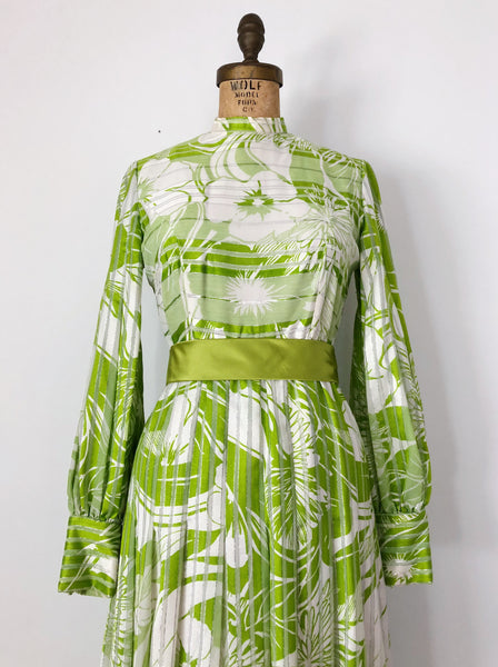 1960s Citrus Green Silk Chiffon Poet Dress - S