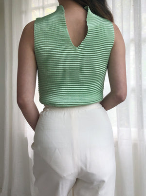 Vintage Mint Green Reversible Pleated Top - S/M