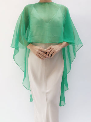 1970s Green Chiffon Short Caftan - One Size