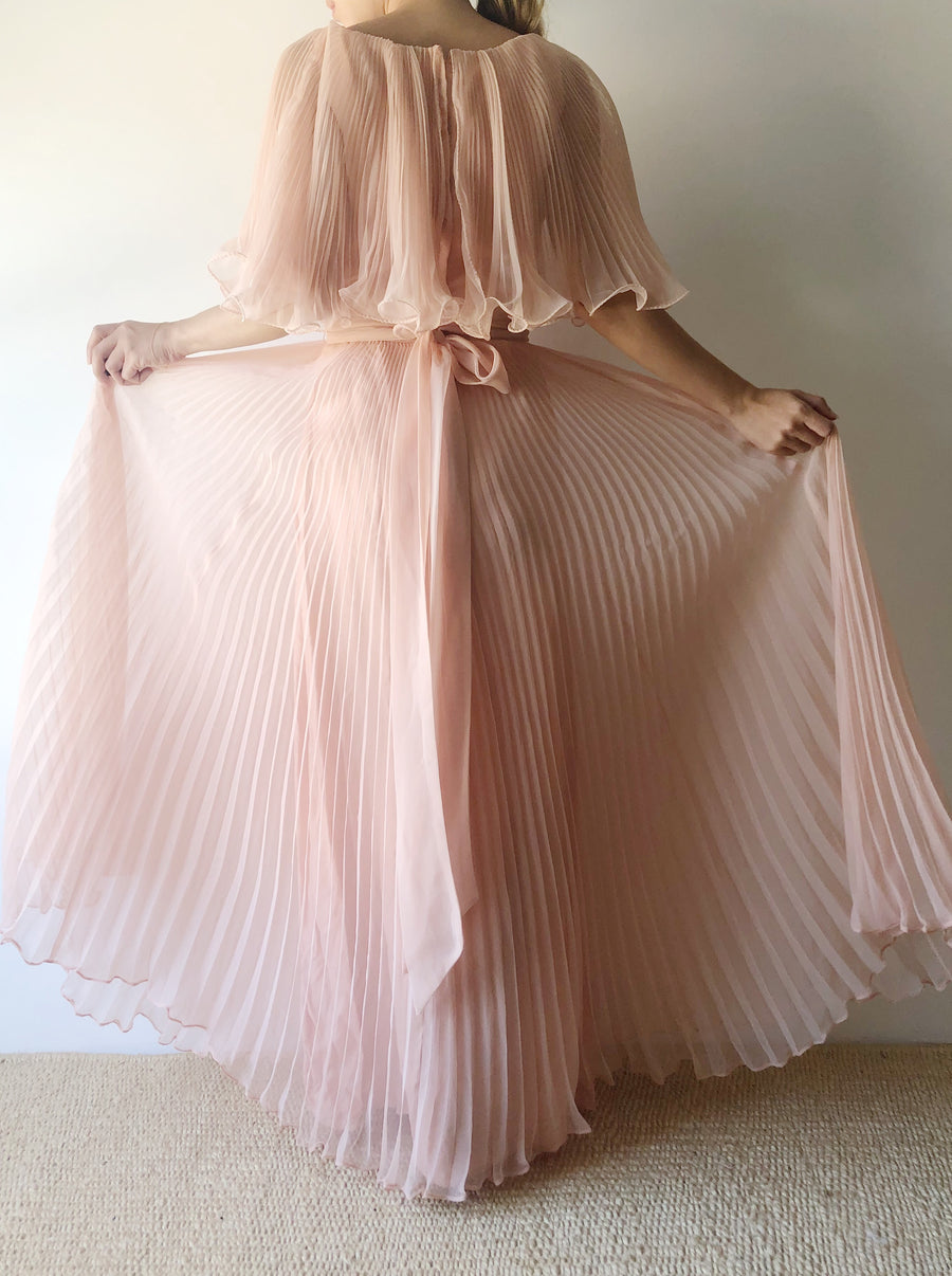1960s Shell Pink Chiffon Pleated Dress - XS/S
