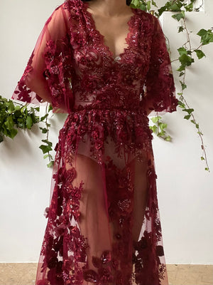 GOSSAMER Red Embroidered Dress - 6/8
