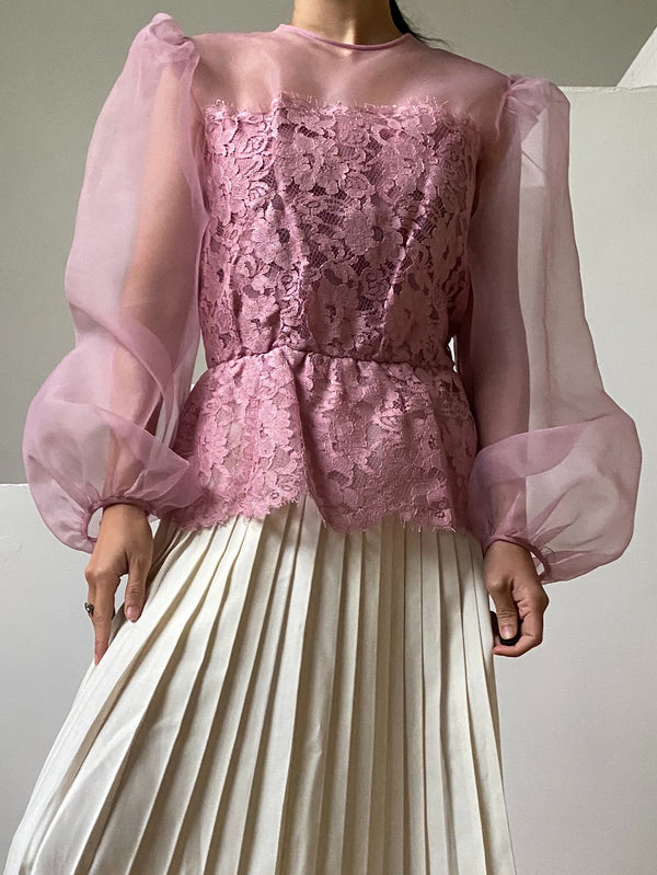1960s Voile Chiffon Puff Sleeve Lace Top - S/M