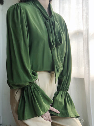 Vintage Green Silk Blouse - S/M