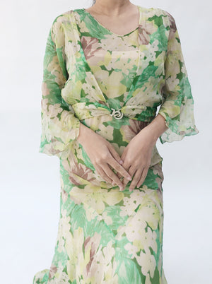 1930s Silk Floral Bias Cut Dress with Jacket - S