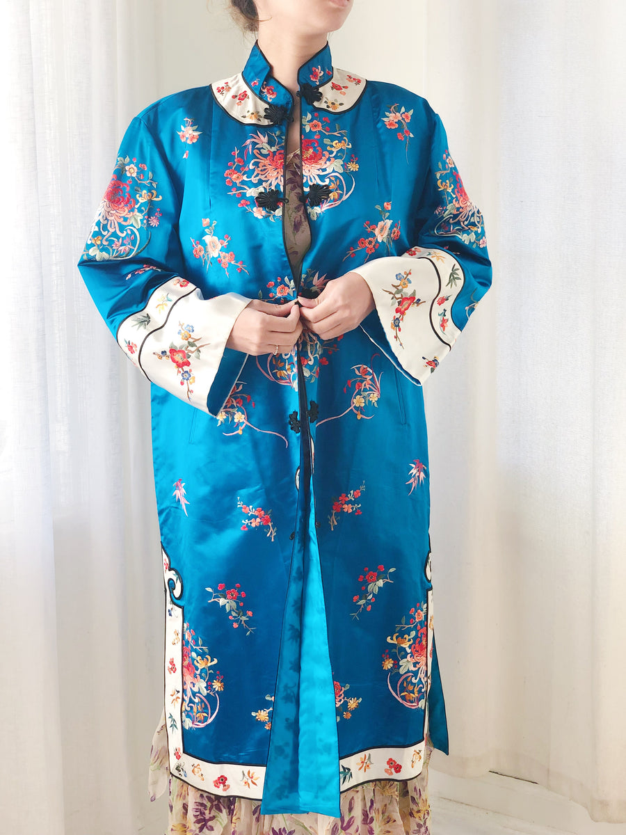 Vintage Blue Chinese Silk Floral Embroidered Robe - M