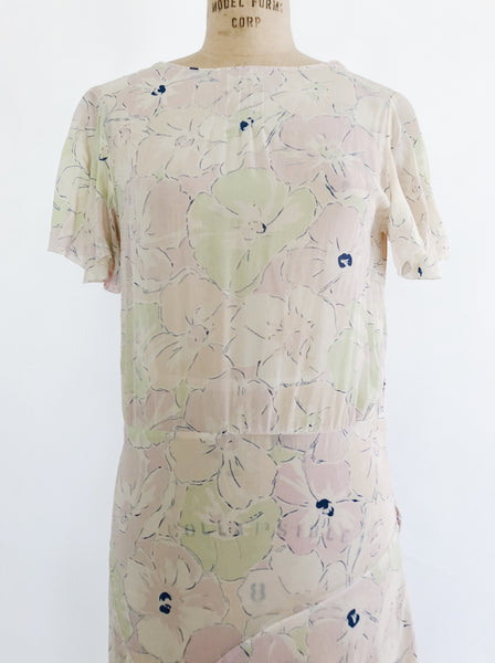 1930s Floral Silk Chiffon Day Dress - S