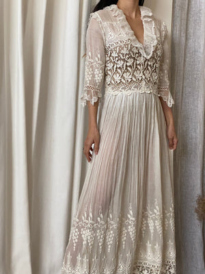 Antique Whitework Embroidered Gauze Dress - M