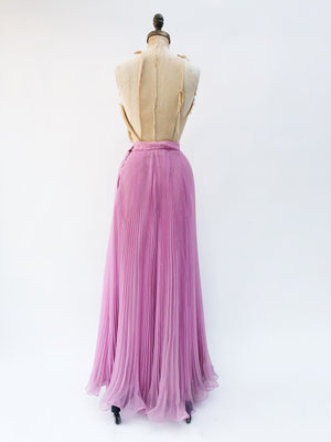 "VTG Pleated Chiffon Skirt - 27.5"" Waist"