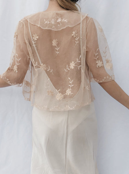 1930s Pink Lace Jacket - One Size