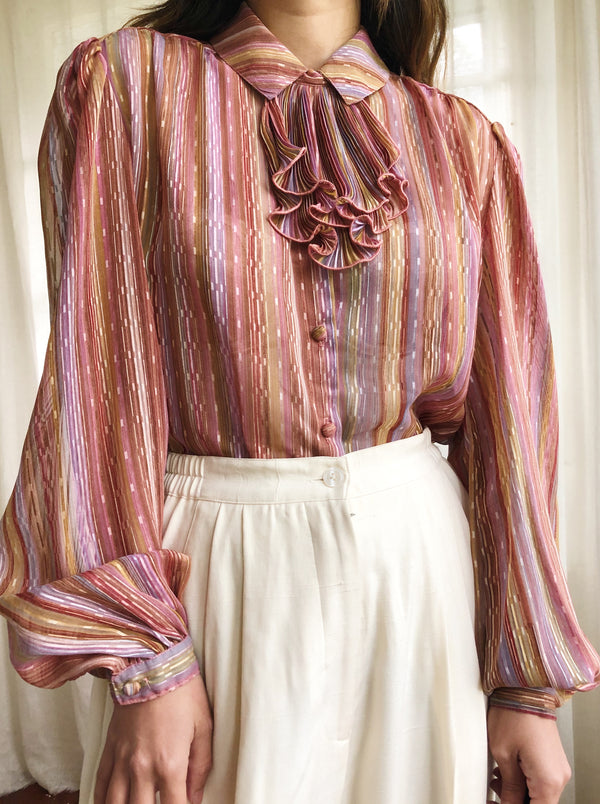 Vintage Chiffon Striped Top - S/M